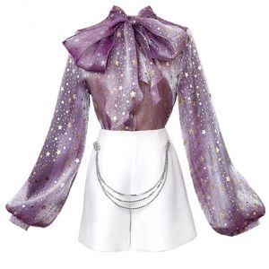 Tops - KESSE Metallic Sheer Star Bow Top